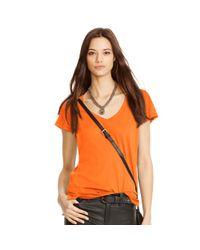 Polo Ralph Lauren - Orange Cotton Jersey V-neck Tee - Lyst