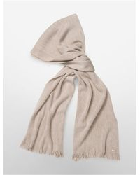 Calvin Klein | Brown White Label Fringed Ends Knit Scarf | Lyst