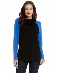 Karen Kane | Black Colorblock Funnel Neck Sweater | Lyst