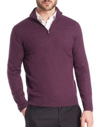 Isaia - Purple Cashmere Half-zip Pullover for Men - Lyst