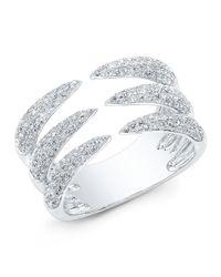 Anne Sisteron - Metallic 14kt White Gold Diamond Triple Horn Ring - Lyst