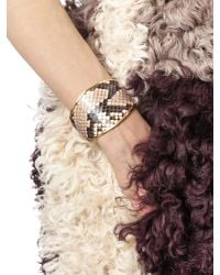 Marni - Pink Bangle In Python And Gilded Metal - Lyst