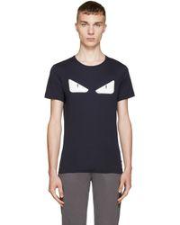 Fendi | Blue Navy Monster Eyes T_shirt for Men | Lyst