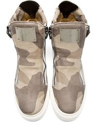 Giuseppe Zanotti | Brown Grey Leather Camo High_Top Sneakers for Men | Lyst