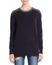 VINCE | Blue Two-tone Side Zip Wool/cashmere Sweater | Lyst