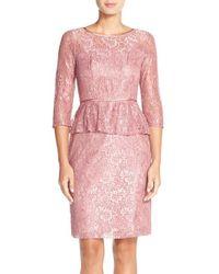 Adrianna Papell | Blue Peplum Lace Sheath Dress | Lyst