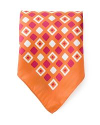 Kiton - Orange Square Print Handkerchief for Men - Lyst