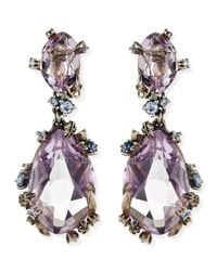Alexis Bittar Fine | Metallic Cool Heather Marquise Large 2stone Amethyst Clip Earrings | Lyst