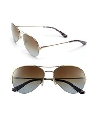 Tory Burch | Metallic 55mm Rimless Aviator Polarized Sunglasses | Lyst
