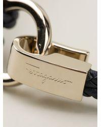 Ferragamo - Blue Woven Gancio Bracelet - Lyst