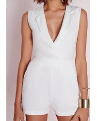 Missguided - Wrap Front Lapel Romper White - Lyst