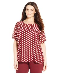 Michael Kors | Red Michael Plus Size Short-sleeve Polka-dot Top | Lyst