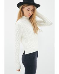 Forever 21 - Natural Cable Knit Mock-neck Sweater - Lyst