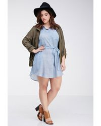 Forever 21 - Blue Belted Chambray Tunic - Lyst