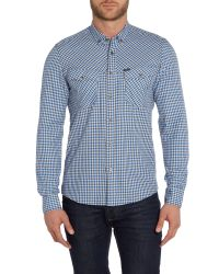 Duck and Cover | Blue Sanderson Long Sleeve Check Shirt for Men | Lyst