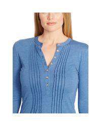 Ralph Lauren   Blue Pintucked Cotton Top   Lyst
