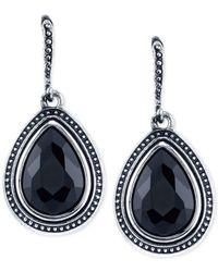 2028 | Metallic Silver-tone Black Stone Framed Drop Earrings | Lyst