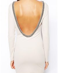 True Decadence - White Bodycon Dress with Embellished Low Back - Lyst