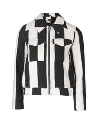 TOPSHOP - Black Stripe Wool Mix Jacket - Lyst