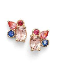 Mociun - Blue Sapphire Cluster Earrings - Lyst