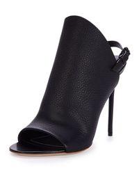 Balenciaga - Black Open-Toe Leather Sandals - Lyst