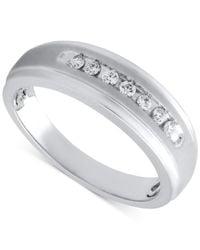Beautiful Beginnings | Metallic Men's Diamond Wedding Band In Sterling Silver (1/5 Ct. T.w.) for Men | Lyst