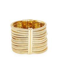 Lanvin | Metallic Art Deco Gold Tone Cuff | Lyst