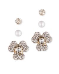Anne Klein | Metallic Faux Pearl And Crystal Earring Jacket Set | Lyst