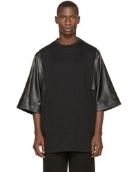 Juun.J | Black Leather Sleeve T_shirt for Men | Lyst
