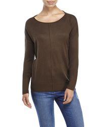 Vince | Brown Drop Shoulder Silk Pullover | Lyst
