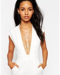 ASOS - Metallic Faux Pearl Bar Body Harness - Lyst