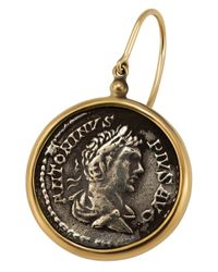 1884 Collection - Black 1884 - 'appia' 18k Yellow Gold Medium Earrings W/1 Pius Coin - Lyst