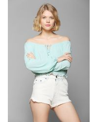 Pins And Needles - Green Cropped Gauze Blouse - Lyst