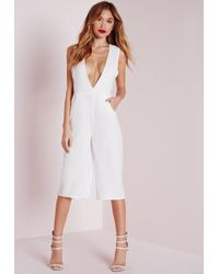 Missguided | V Front Culotte Jumpsuit White | Lyst