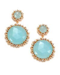 Mija | Light Blue Jade & White Sapphire Graduated Drop Earrings | Lyst