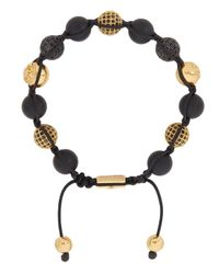 Nialaya - Metallic Gold Plated Crystal Embellished Onyx Bracelet for Men - Lyst