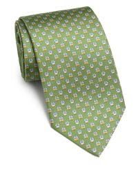 Ferragamo - Green Owl-print Silk Tie for Men - Lyst