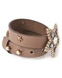Lanvin | Brown Taupe Elsie Star Leather Wrap Bracelet | Lyst