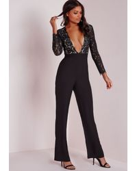 Missguided | Scallop Lace Plunge Wide Leg Jumpsuit Black | Lyst