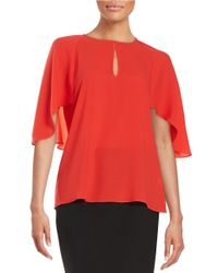 Trina Turk | Red Alee Flutter-sleeved Top | Lyst