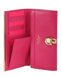 Ferragamo - Pink Saffiano Leather Flap Wallet - Lyst