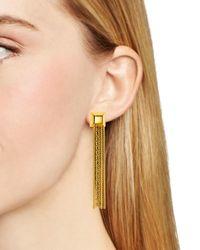 Diane von Furstenberg | Metallic Cube Chain Tassel Earrings | Lyst