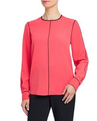 Ellen Tracy | Pink Contrast Piped Blouse | Lyst