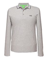 BOSS Green - Gray Regular-fit Long-sleeved Polo Shirt 'plisy' In Piqué for Men - Lyst