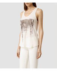 AllSaints - White Mirage Bard Vest - Lyst