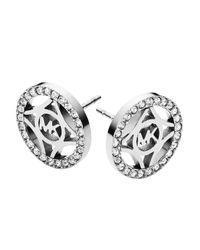 Michael Kors | Metallic Pavé Monogram Stud Earrings | Lyst