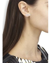 Noir Jewelry | Metallic X Dc Comics Pow Bang Rhodium Plated Earrings | Lyst