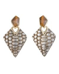 Alexis Bittar | Metallic Croc Textured Dangle Clip Earring | Lyst