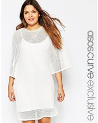 Asos Curve | White Geo Mesh Shift Dress With Kimono Sleeves | Lyst