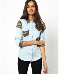Glamorous - Blue Denim Shirt with Camo - Lyst